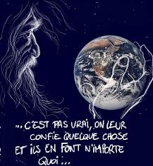 Dieu dcourag de ce qui se passe sur la terre