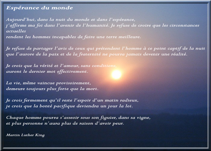 Espérance du monde Martin Luther King