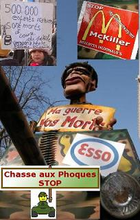 Affiche stop chasse au phoque mc killer etc.