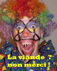Clown dit non merci  la viande